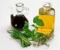 Aceto balsamico, oil, herbs (ingredients for herb vinaigrette)